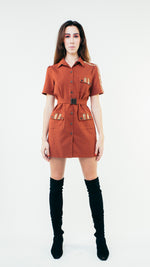 Load image into Gallery viewer, Short Sleeve Wool Button Up Shirt Dress with Chest Pockets Burgundy