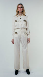 Straight Cut Wool Trousers with Front Pockets White