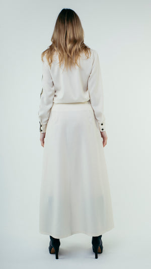A-Line Wool Button Up Maxi Skirt with Front Pockets White