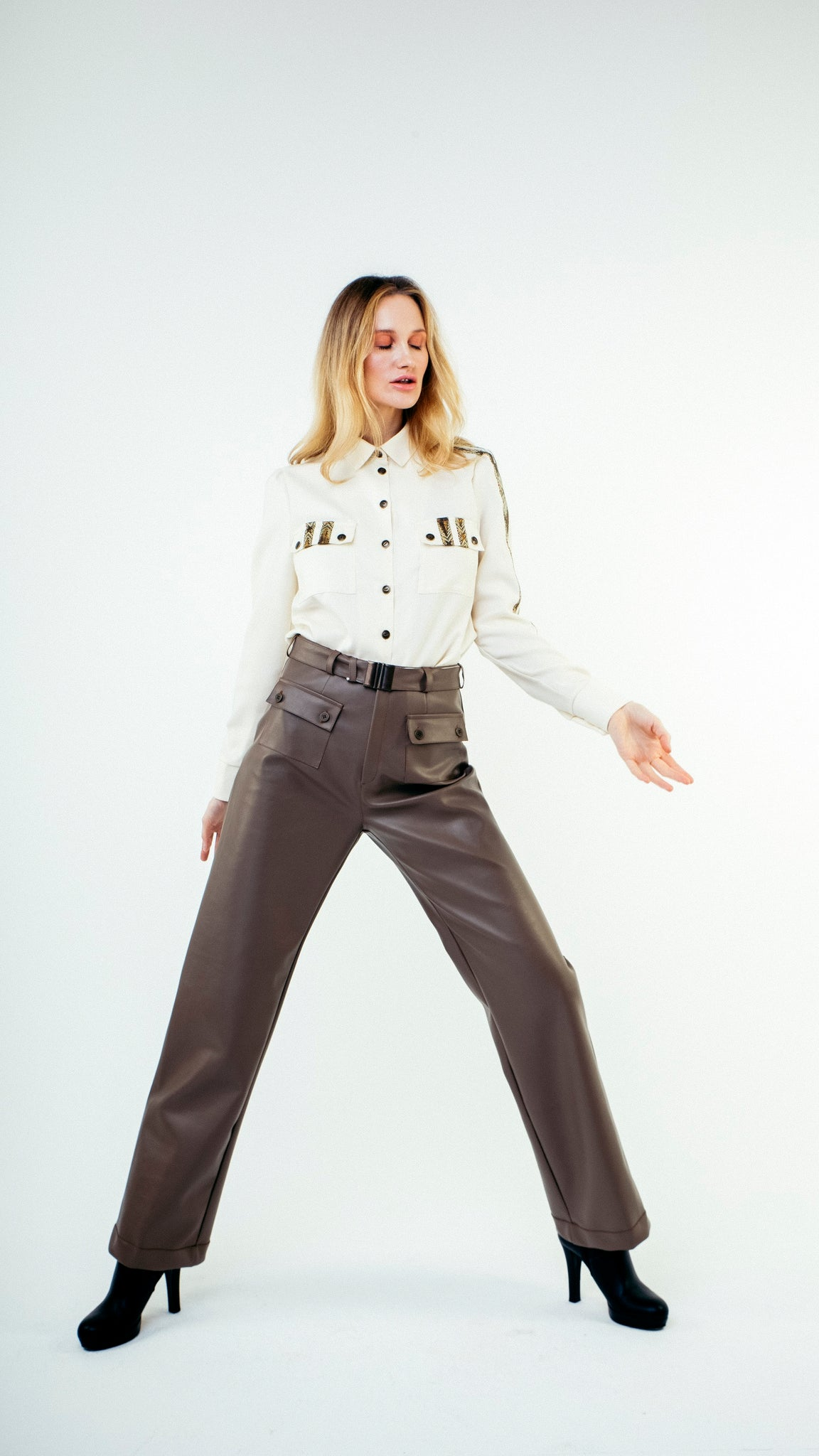 Straight Cut Vinyl Trousers with Front Pockets Brown
