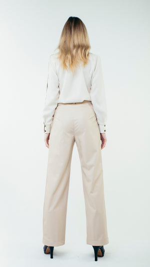 Straight Cut Vinyl Trousers with Front Pockets Blush