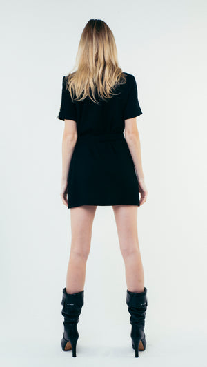 Short Sleeve Wool Button Up Shirt Dress with Chest Pockets Black