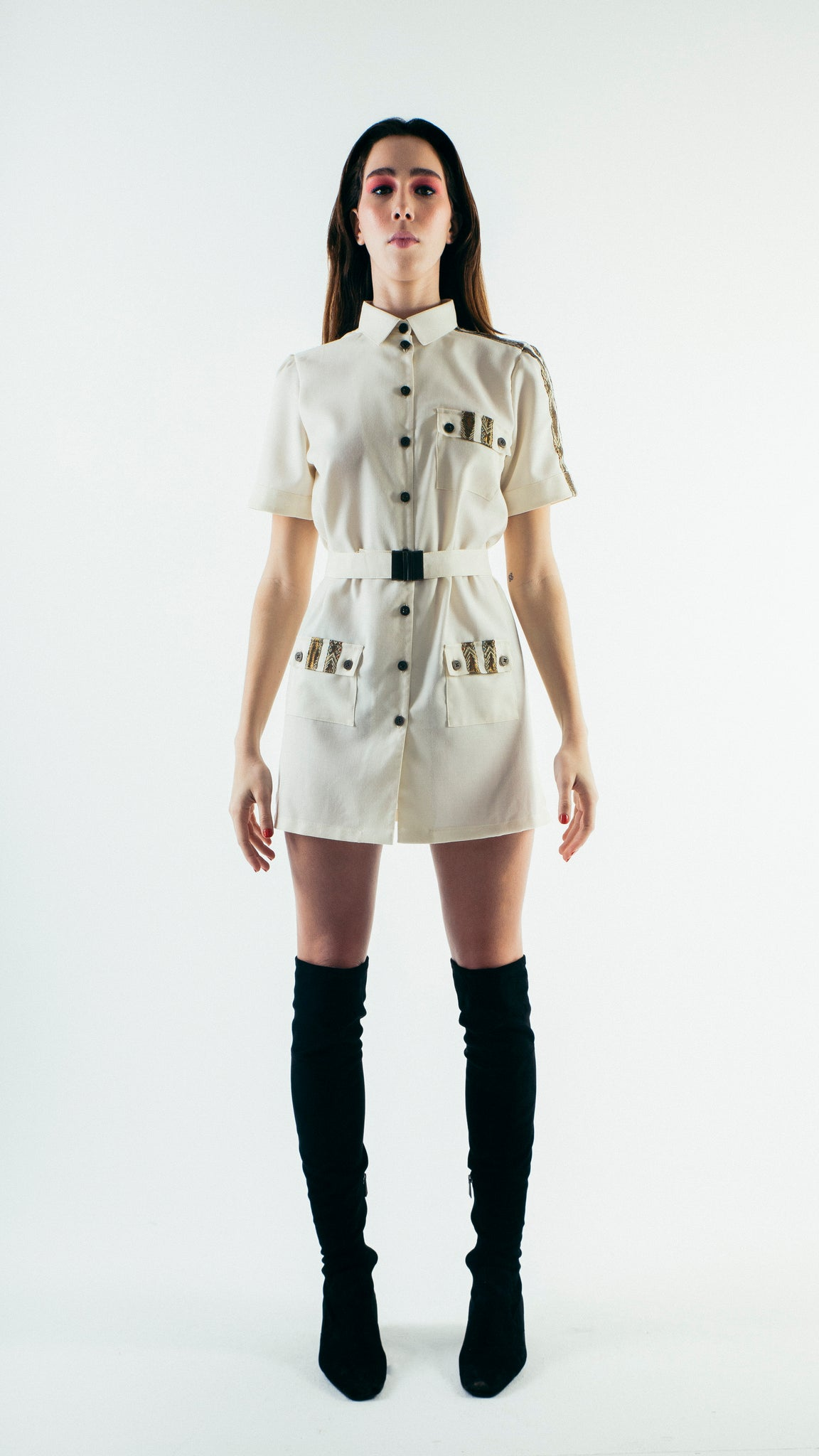 Short Sleeve Wool Button Up Shirt Dress with Chest Pockets White