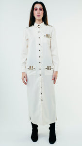 Long Sleeve Wool Button Up Shirt Dress with Chest Pockets White