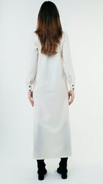 Load image into Gallery viewer, Long Sleeve Wool Button Up Shirt Dress with Chest Pockets White