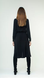 Load image into Gallery viewer, A-Line Wool Button Up Midi Skirt with Front Pockets Black