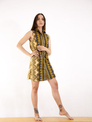 Kawung Sleeveless Button Up Shirt-Dress