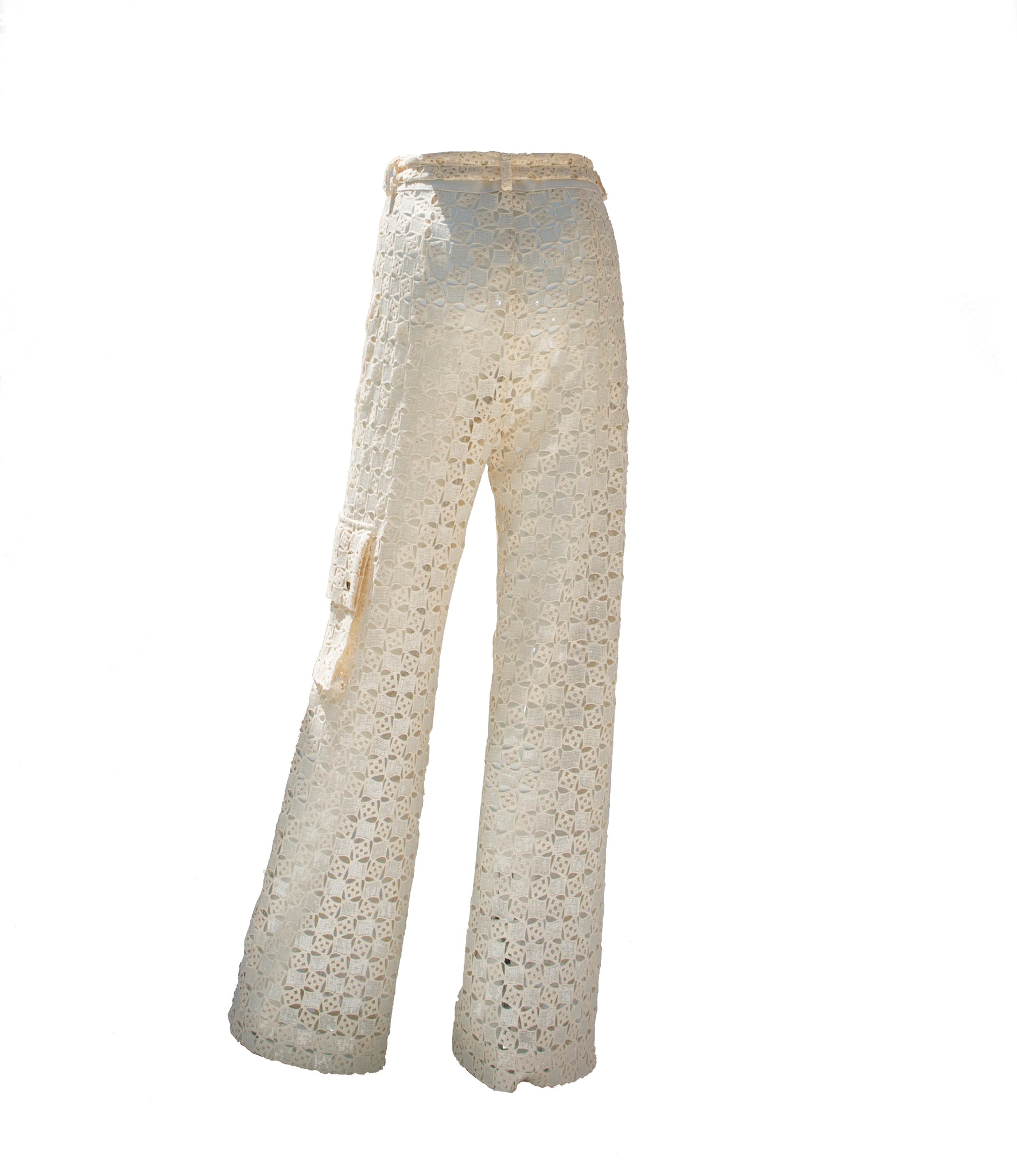 Sequined White Cotton Long Trousers