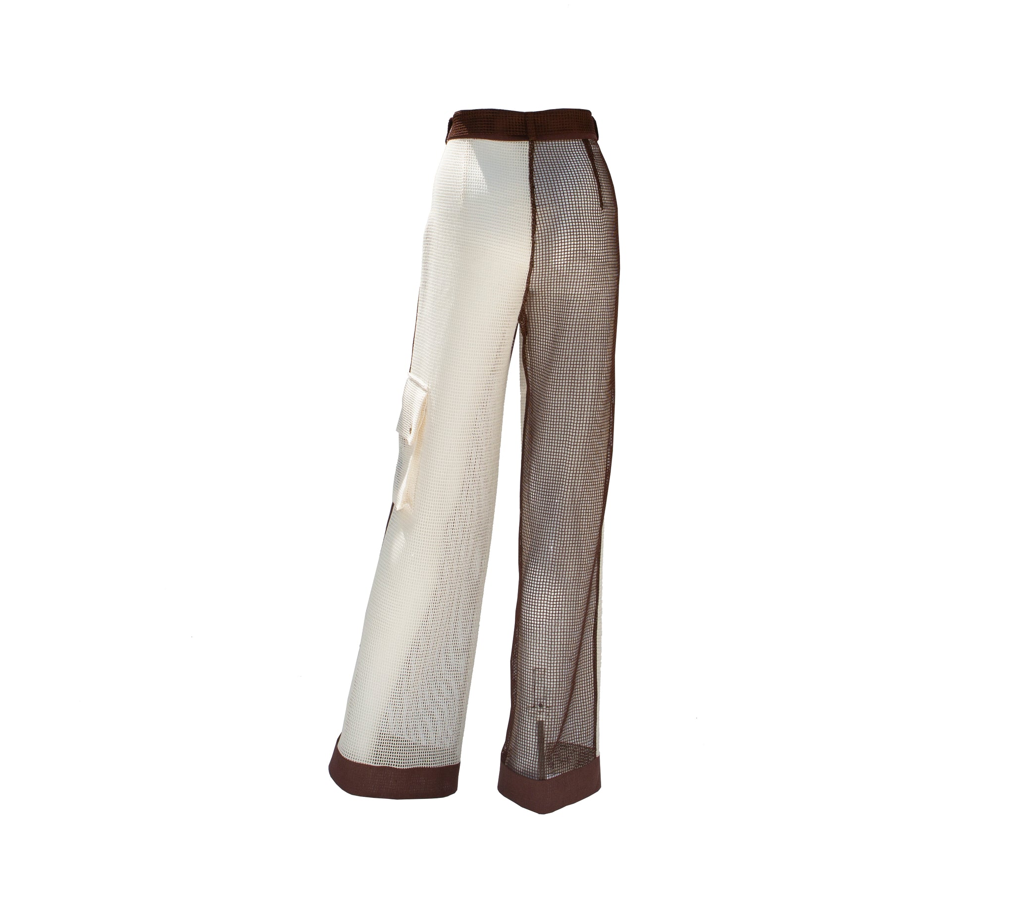 White and Brown Color Block Cotton Mesh Long Trousers