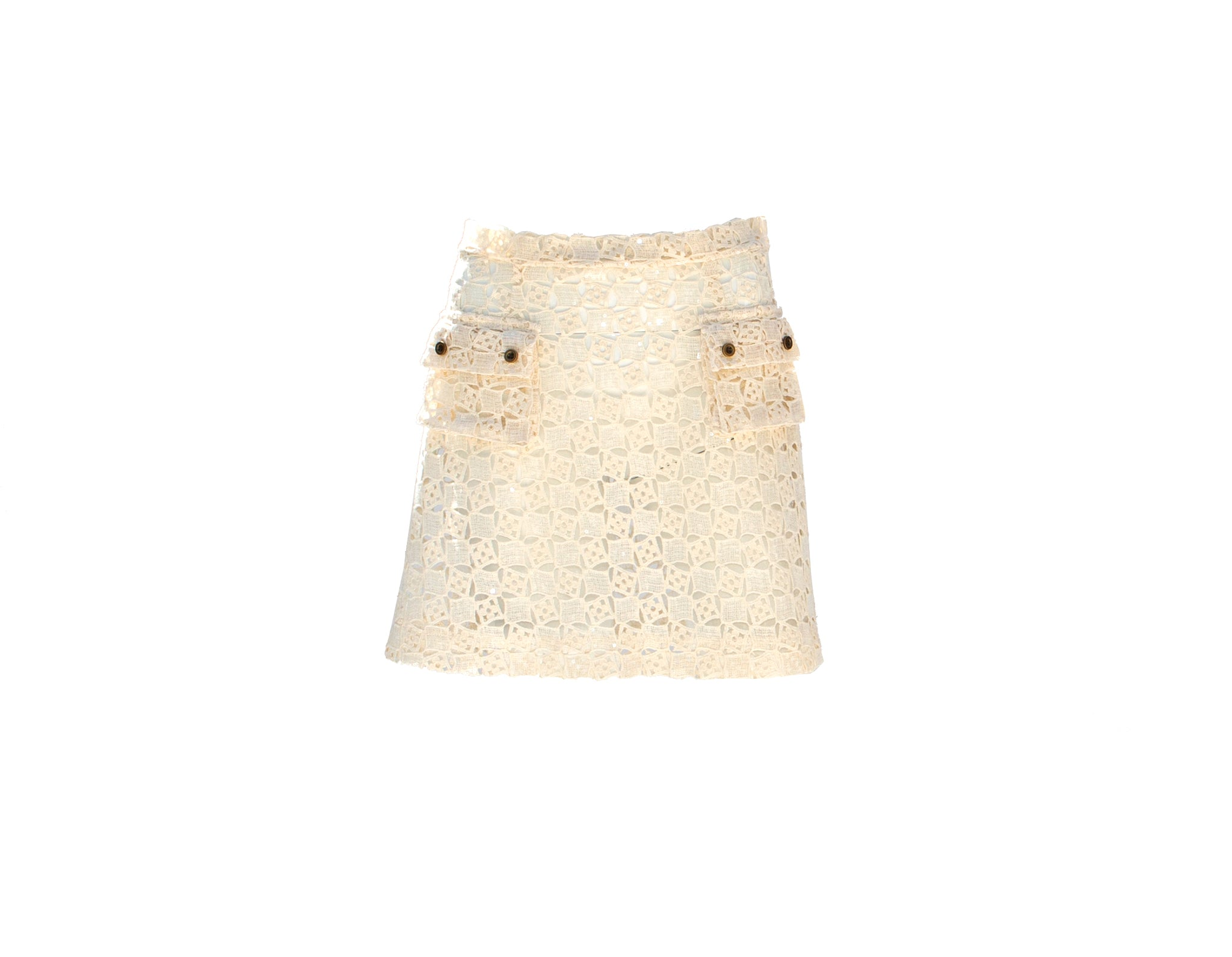White Sequined Cotton Mini Skirt with Pockets