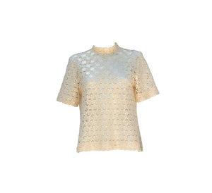 Short Sleeve Sequined Cotton Shirt with a Back Zipper