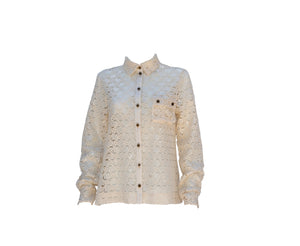 Long Sleeve Sequined Cotton Button Up Shirt