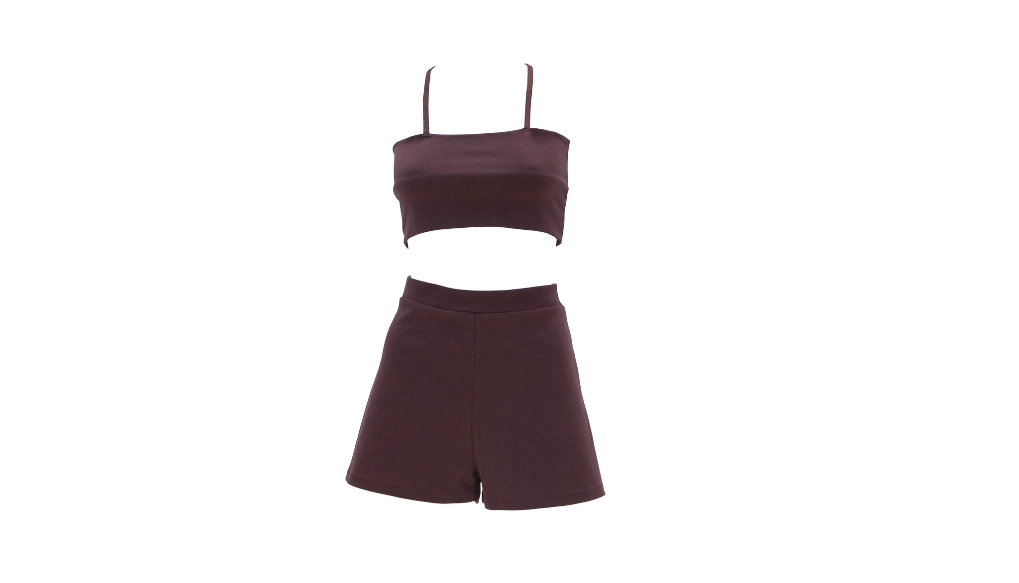 Maroon Brown Shorts and Top Set