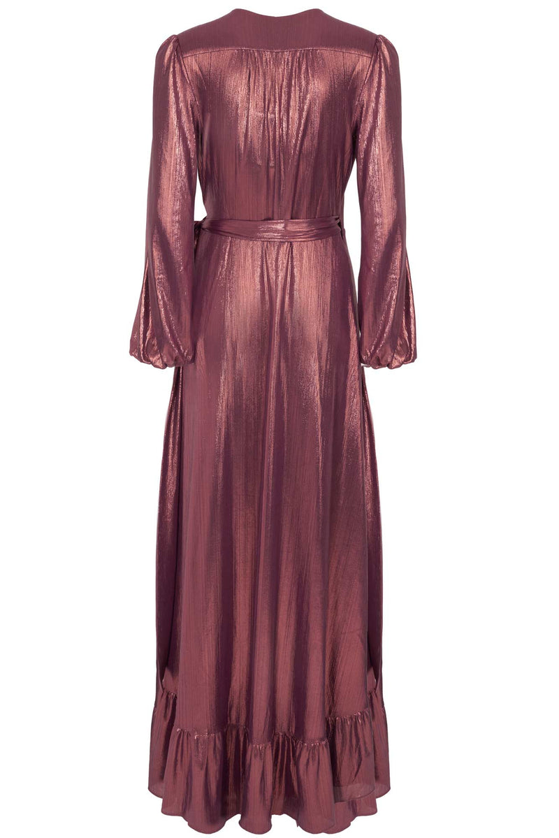 Foiled Crinkle Bridesmaid Long Sleeve Wrap Dress