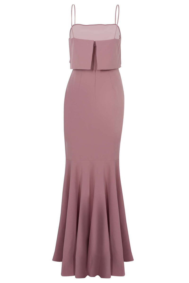POP-OVER TRUMPET SKIRT BRIDESMAIDS GOWN - MAUVE (back)