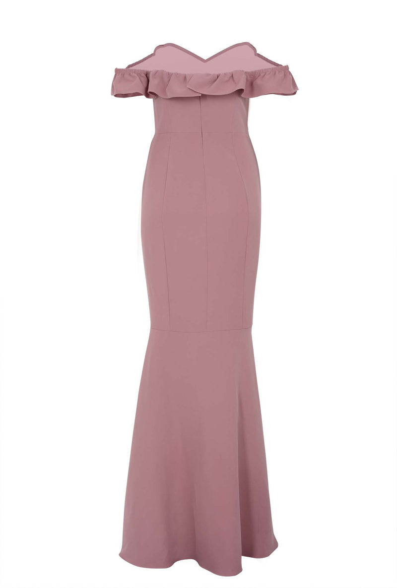 STRAPLESS TRUMPET SKIRT BRIDESMAIDS GOWN - Mauve (back)