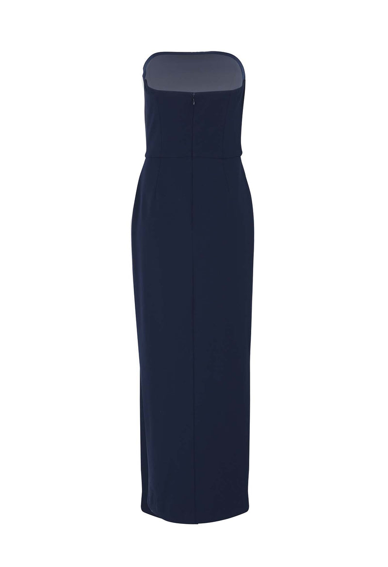 STRAPLESS TULIP HEM DRESS - NAVY (back)