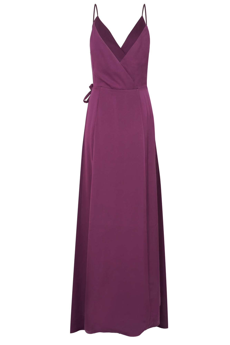 Sleeveless purple wrap gown bridesmaid dress w front slit
