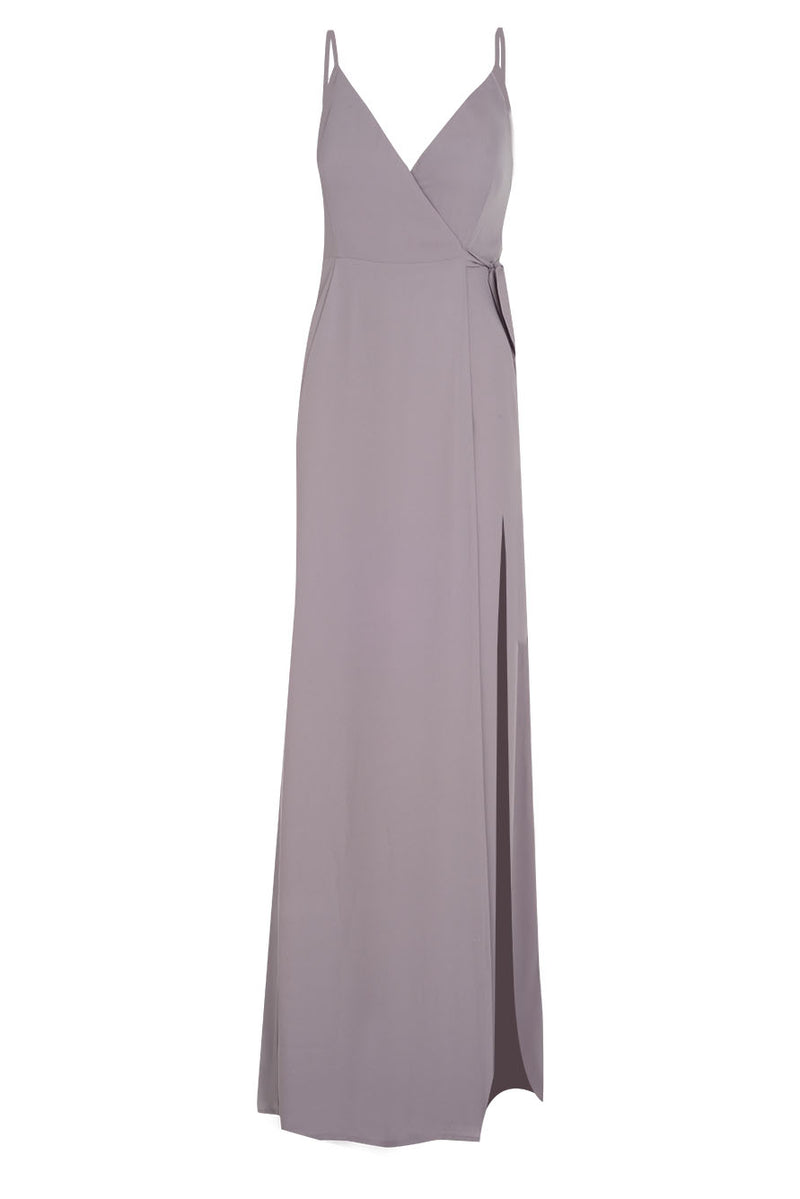 Bridesmaids Dress FRONT SLIT WRAP GOWN Purple