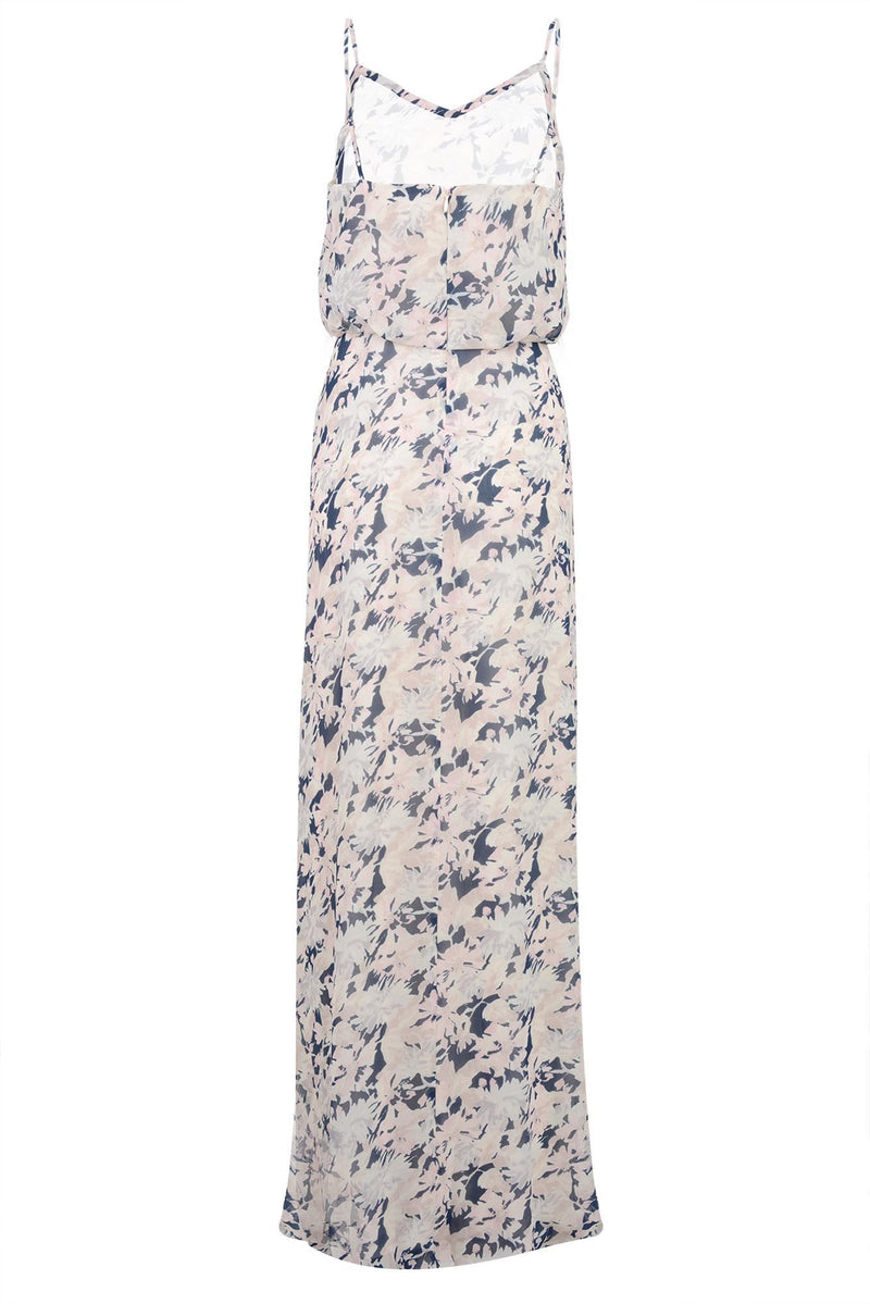 bridesmaids dress georgette cami gown floral print navy back