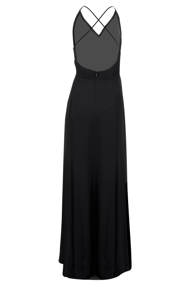 bridesmaids dress matte satin faux wrap gown black back
