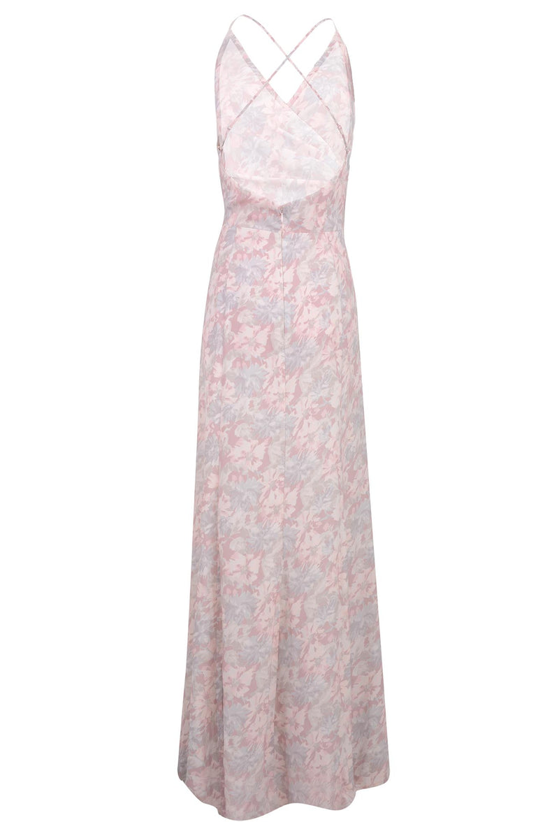 bridesmaids dress matte satin faux wrap gown pink floral print back