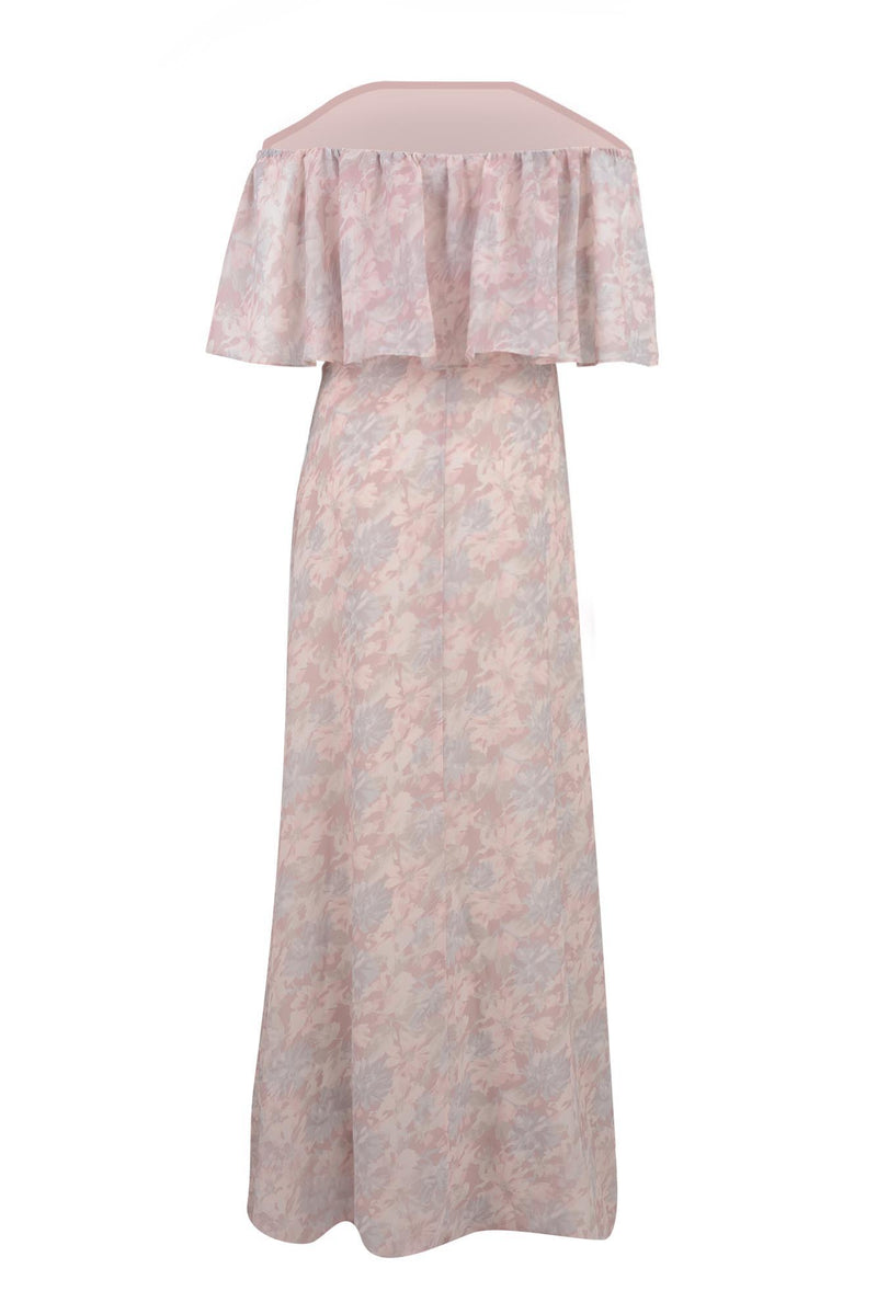 printed chiffon off shoulder pop-over bridesmaid gown pink floral back