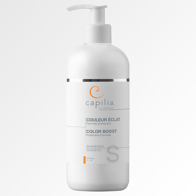 Capilia Trichology Color Boost shampoo for colored or bleached hair | Shampoing Couleur Éclat de Capilia Trichology pour cheveux colorés et décolorés