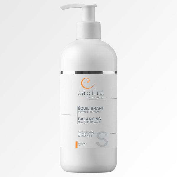 Capilia Trichology Balancing Shampoo Large Format | Shampoing Équilibrant Grand format. Hypoallergenic neutral PH Formula for all types of hair | Formule PH neutre pour tous les types de cheveux.