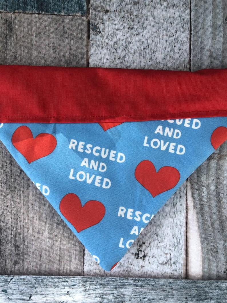 Blue & Red Rescued and Loved Dog Bandana
