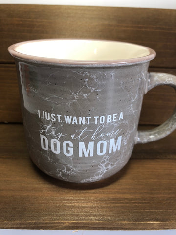 Stay at Home Dog Mom Mug - Gray Marbled