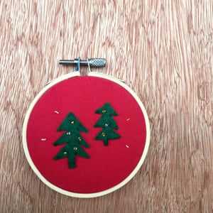 Peaceful Forest Embroidery (Red)