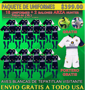20 Marval Aves Blancas de Tepatitlan Away Soccer Uniforms( Team Package).