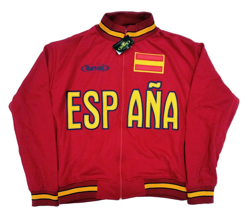 Spain Red Zip-Up Track Jacket By Rinat 100% Polyester
