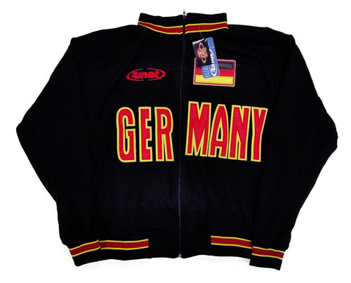Germany Black Zip-Up Track Jacket By Rinat 100% Polyester