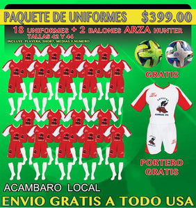 20 Marval Acambaro Home Soccer Uniforms( Team Package). NUM.4 IMAGE CODE