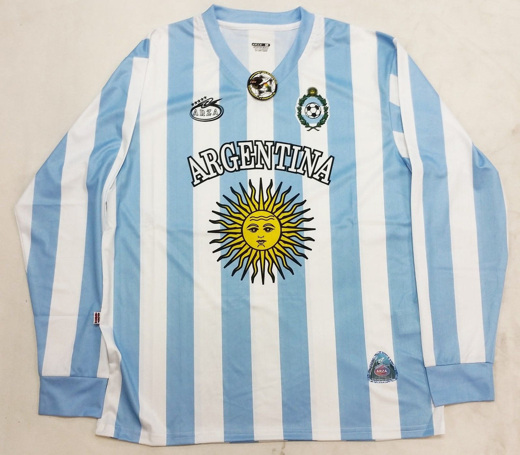 Argentina  New Arza Soccer Jersey White Blue Long Sleeve 100% Polyester