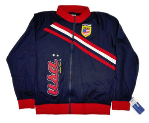 USA Navy Blue Zip-Up Track Jacket By Rinat 100% Polyester