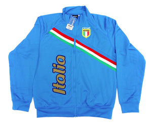 Italy Blue Zip-Up Track Jacket By Rinat 100% Polyester