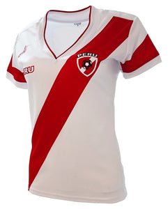 Peru Women Soccer Jersey Arza Design Color White  Red 100% Polyester With V  Neck 8a6e9a0778