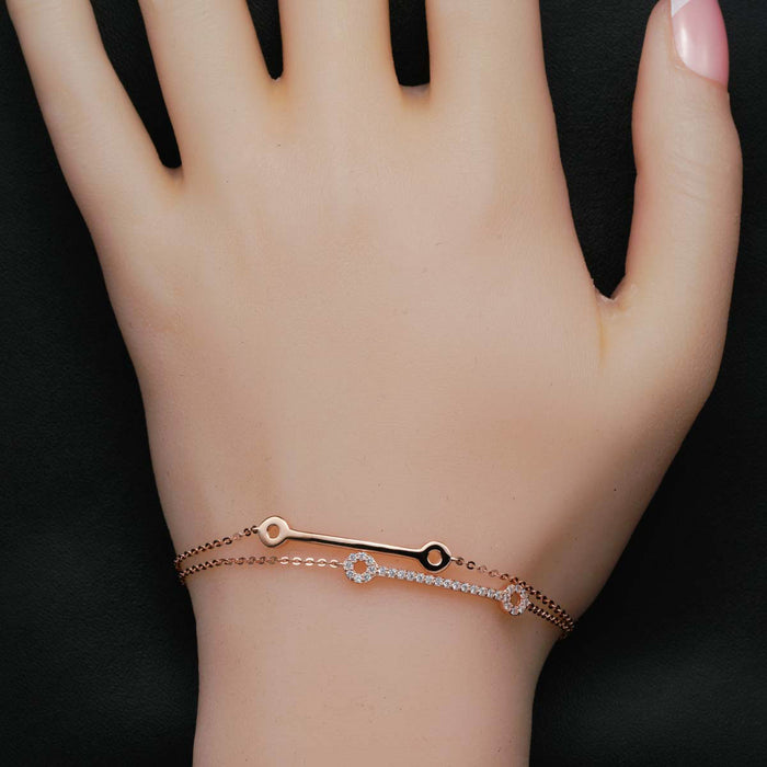 Two Dog Bone 0.25 Carat Round Cut Diamond Double Link Bracelet in Rose Gold