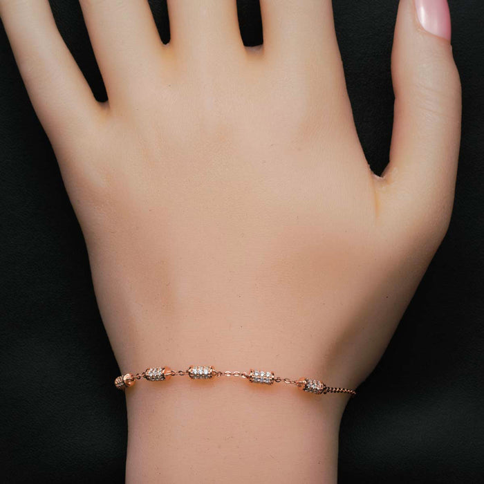 Five Cylinder Shaped 0.50 Carat Round Cut Diamond Chain Bracelet in Rose Gold