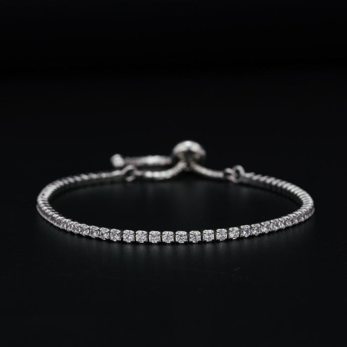 Stunning 3 Carat Round Cut Diamond Four Prong Set Line Tennis Bracelet in White Gold