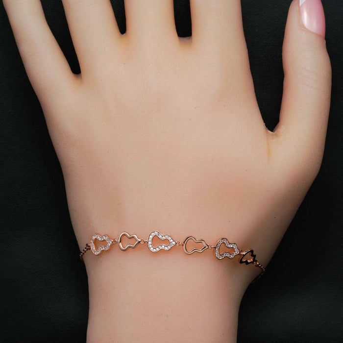 Bell Shaped 0.50 Carat Round Cut Diamond Chain Bracelet in Rose Gold