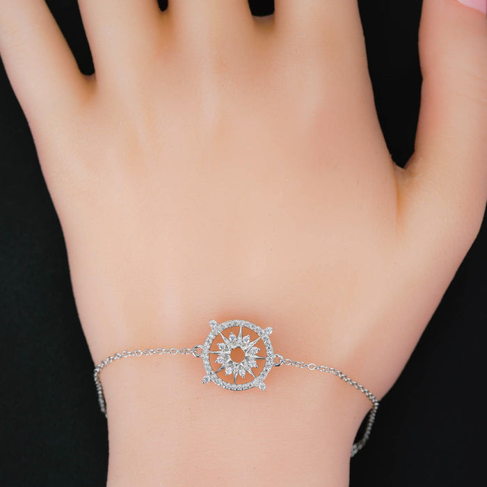 Ship Wheel 0.25 Carat Round Cut Diamond Chain Bracelet in White Gold