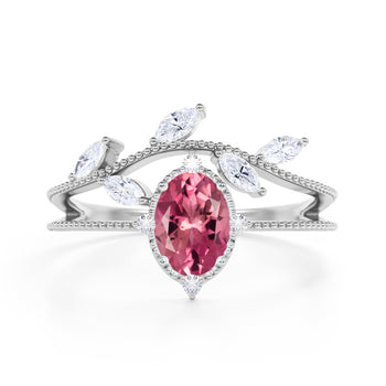 Leaf Design 1.25 Carat Oval Rubellite Tourmaline and Diamond Vintage Split Shank Engagement Ring in White Gold