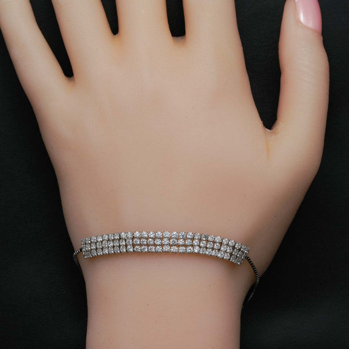 Three Row Design 3 Carat Round Cut Diamond Bolo Bracelet in White Gold