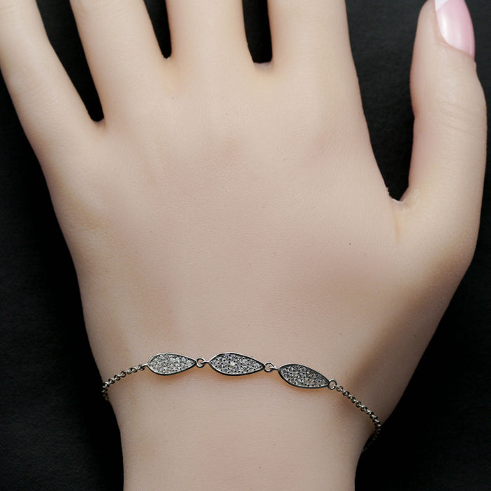 Micro Pave Leaf Shape 0.50 Carat Round Cut Diamond Chain Bracelet in White Gold