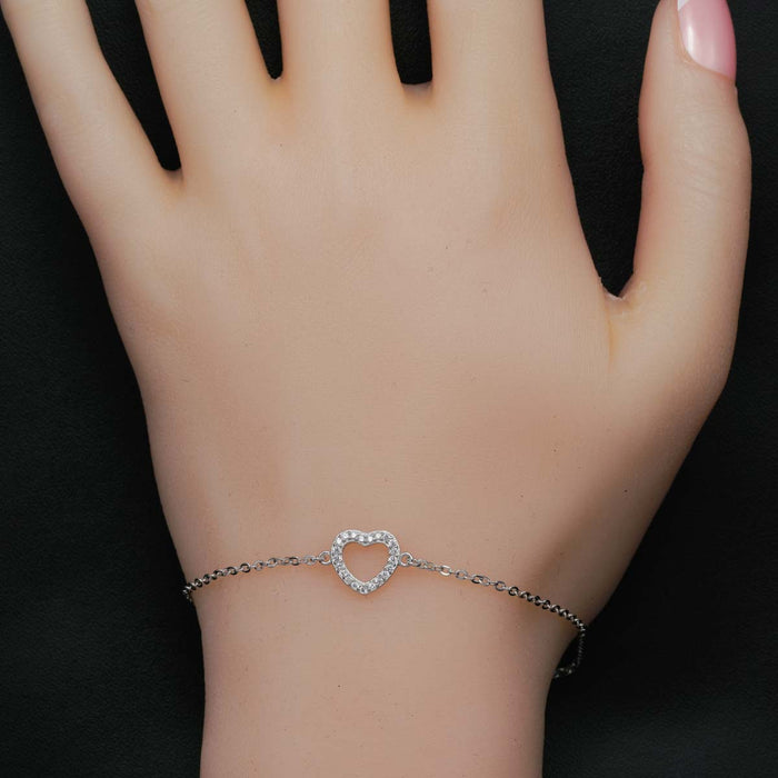 Heart Shape Style 0.25 Carat Round Cut Diamond Chain Bracelet in White Gold