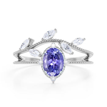 Leaf Design 1.25 Carat Oval Blue Violet Tanzanite and Diamond Vintage Split Shank Engagement Ring in White Gold